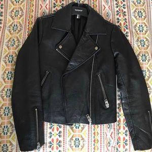 Topshop Genuine Leather Biker